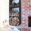 square indoor wood stacker